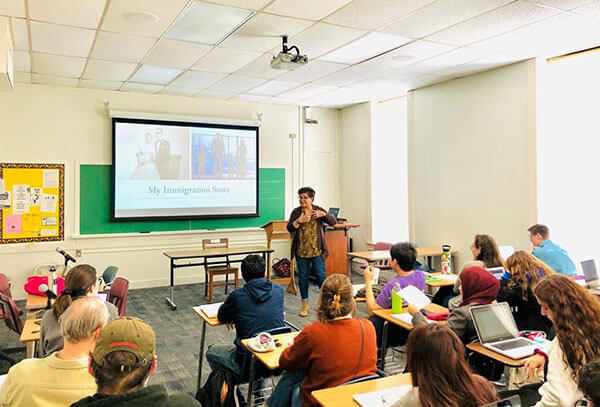 Lorena Gonzalez, Ph.D., guest speaks at Meghann Peace's class