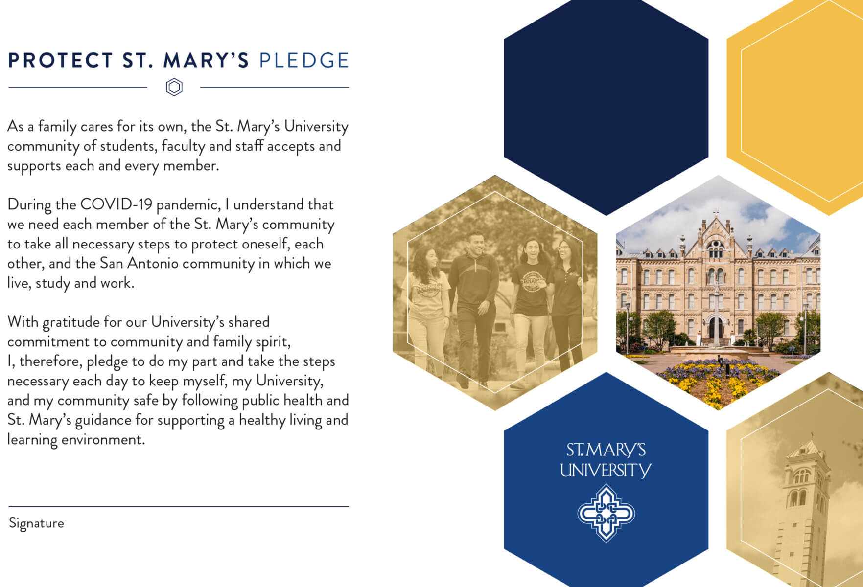 Protect St. Mary's Pledge text