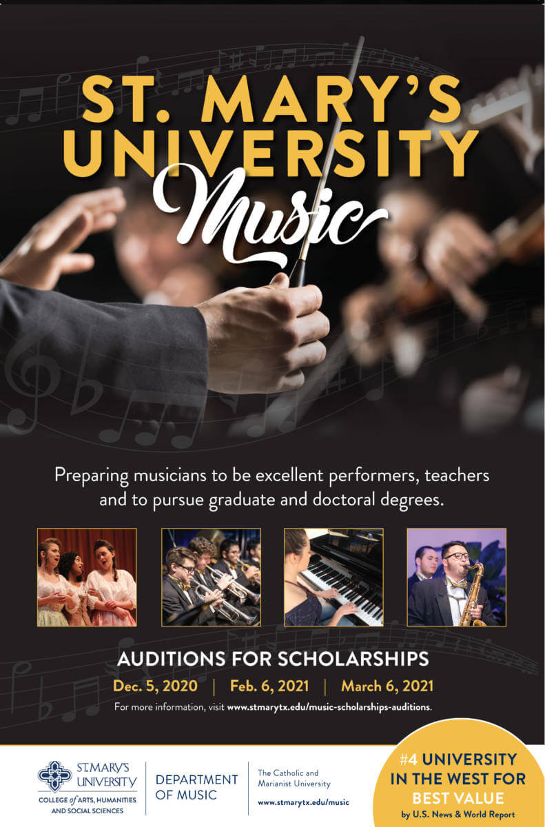 poster advertising the 2020 music scholarship auditions