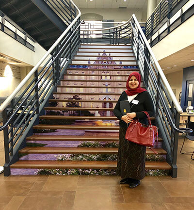 Shaima Khalaf, graduate English Literature and Language student, in the University Center.