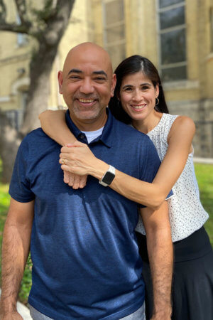 Enrique and Sonya Alemán celebrating their 25th wedding anniversary on the St. Mary's campus