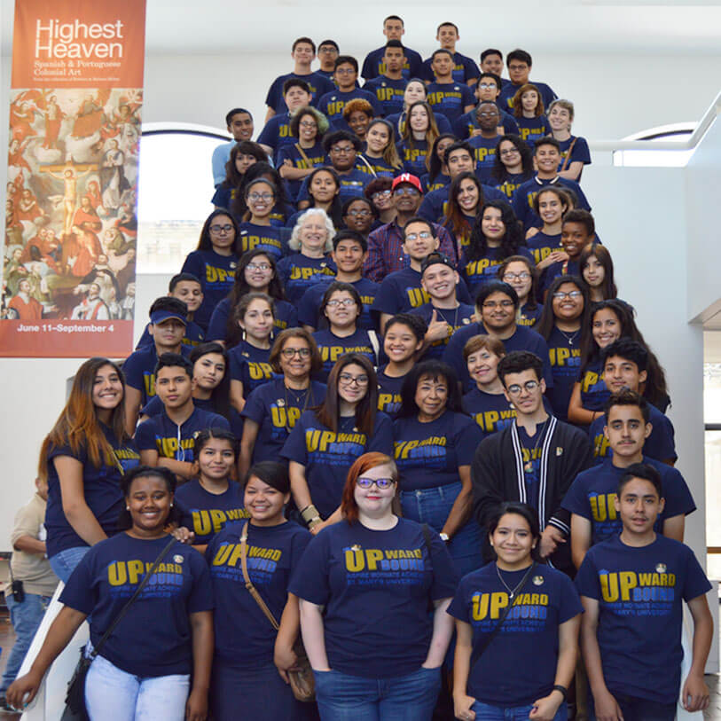 A large group of Upward Bound students on a staircase