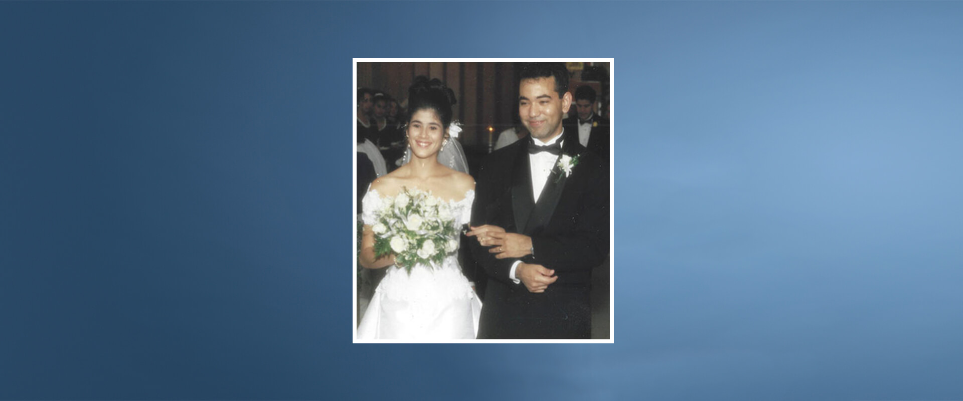 Enrique and Sonya Alemán on their wedding day in Assumption Chapel in 1995