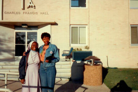 Jeddidah Thotho with a nun who was a student at St. Mary's.