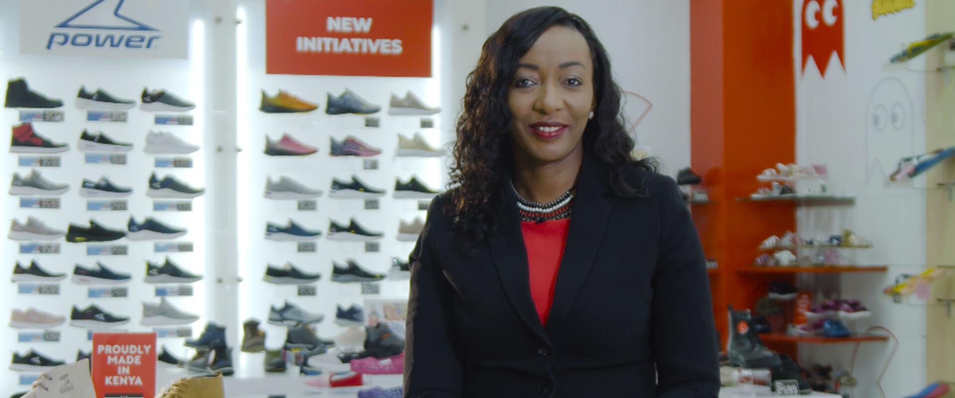 Jeddidah Thotho in a Bata Shoe store in Kenya.