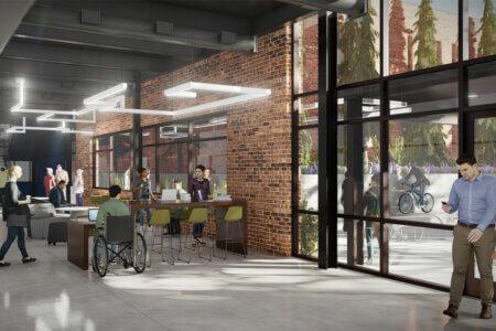 Innovation Center rendering of interior workspace